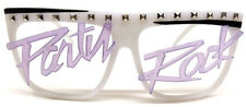 GLOW IN THE DARK PARTY ROCK SQUARE SUNGLASSES LMFAO NERD COSTUME FLAP TOP RAVE