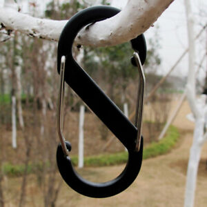 10pcs S Shaped Camping Hooks Mini Keychain Carabiner Outdoor Dual Buckles Black