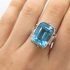 Vtg 925 Sterling Silver Large Real Blue Topaz Gemstone Handmade Ring Size 6 1/4