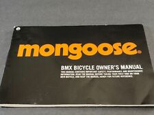 Mongoose BMX Bicycle Owner's MANUAL ONLY 2014