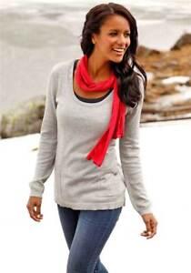 """""""Flashlights"""" Damen Pullover Longpullover Sweatshirt Gr.32-42 Grau UVP 34,99 €"""