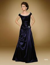 NEW!  Rina di Montella 1843 Navy taffeta beaded long evening gown, Size 14, $615