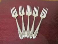Oneida LADY STUART Set of 5 Salad Forks Wm A Rogers Silverplate Flatware Lot A