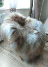 New Real Sheepskin Rug Genuine Icelandic  Grey  brown Size 130-85 dyed