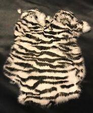 Genuine Rabbit Skin Fur Pelt Soft Leather Hide Craft Decoration Zebra Print
