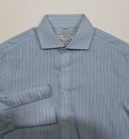 Charles Tyrwhitt Slim Fit Blue Striped French Cuff Non Iron Dress Shirt 15 33