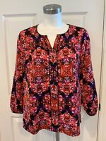 J. Crew Red, Purple, & Black Floral 3/4 Sleeve Shirt Blouse, Size Small