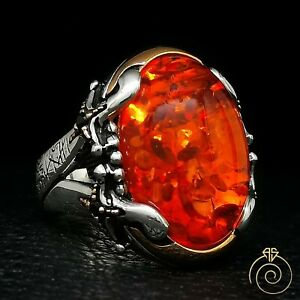 Mens Amber Statement Ring Fire Stone Vintage Silver Engraved Muslim Gift Jewelry