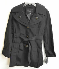 NWT Women's London Fog Single Breasted Trench Coat Black w/detachable hood sz 2X