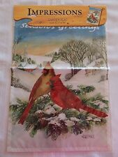 NCE New Creative TWO CARDINALS SEASON'S GREETINGS Garden Flag 12.5 x 18  NEW