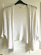 EILEEN FISHER Loose Knit LINEN blend batwing CARDIGAN. Large. Ivory. Open or tie
