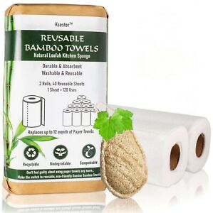 Reusable Paper Towels-Plant Based Dish Scrubber-Machine Washable Bamboo Towels