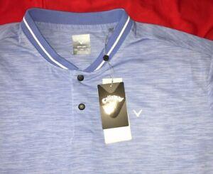 NWT CALLAWAY GOLF OPTI-DRI MEN'S XL SHORT SLEEVE BUTTON UP BLUE SHIRT - $70