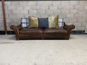Tetrad Zhivago Grand Sofa in Aged Leather & fabric with Scatter Back Cushions