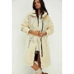 FREE PEOPLE AVERY EMBROIDERED TEDDY COAT SIZE M NWT