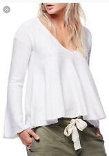 Free People Womens Sundae Knit Sweater Large L New White Flare Sleeves