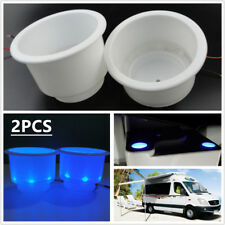 2X Cup Drink Holders w/ 8 LED Blue Light Marine Boat Car Truck Camper RV 2.715''