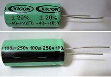 Xicon ® 100 uF 250 V Volt 105 ° +/- 20% Electrolytic Capacitor - New NOS