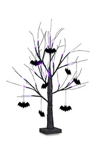 Eambrite 2FT Black Halloween Tree with Bat Decorations Purple Lights Battery for
