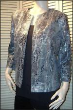 """Black Gray Silver Animal Print Open Style Jacket  (L) 44"""" bust Made in the USA"""