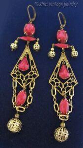 Victorian style Long ruby Pink rhinestone Gold filigree dangle wire EARRINGS