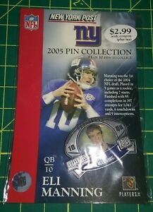 ELI MANNING 2005 NEW YORK POST GIVEAWAY PIN GIANTS 2X SUPER BOWL CHAMP MIP
