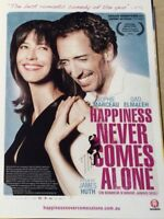 Promotional Movie Flyer Happiness Never Comes Alone Sophie Marceau - *NOT A DVD*