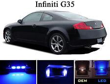 Ultra Blue Vanity / Sun visor  LED light Bulbs for Infiniti G 35 G35 (4 Pcs)