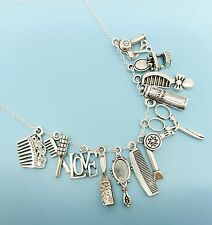 Hairstylist Hairdresser Hair Charm Necklace Silver Charms Pendants