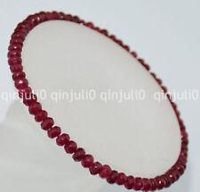 Faceted 2x4mm ruby Roundlle Gemstones Bracelet 7.5 inch J154