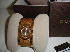 Authentic GUCCI Watch Twirl Gold-Tone Guccissima Leather Bangle Women's