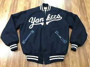 MENS LARGE - Vtg New York Yankees Mitchell & Ness Quilted Wool Zip Jacket USA