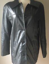 Mens MODA INTERNATIONAL Black 100% Leather Jacket Coat  Size Small