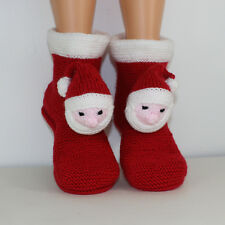 PRINTED INSTRUCTIONS - CHILDRENS  SANTA HEAD CHRISTMAS SLIPPERS KNITTING PATTERN