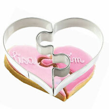 2Pcs/Pair Heart Puzzle DIY Cookie Mould Baking Tools Stainless Steel Cutter Mold