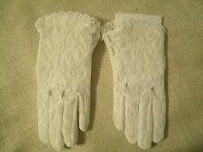 Vintage Childs Nylon White Dress Gloves Lace Tea Party Dress Up Flower Girl
