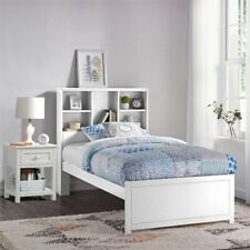 Caspian Twin Bookcase Bed with Nightstand in White