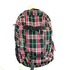 Dakine Mission Skateboard Snowboard Backpack w Laptop Pack Pink Black Plaid Euc