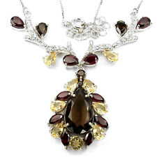 Natural AAA Smoky Quartz Citrine Garnet White Cz 925 Sterling Silver Necklace