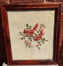 1960's Vtg Handmade NEEDLEPOINT framed picture 13 x 15 Cardinals / Red Birds