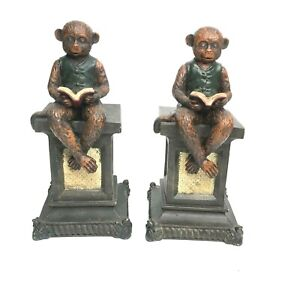 Vintage Monkey Bookends Monkeys Reading Books Bookends  Resin Bookends