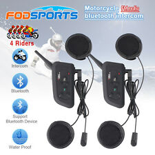 2x Motorcycle Helme BT Bluetooth Interphone 4 Riders Talk Real Time Full Duplex
