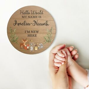 Personalised Baby Name Sign, Baby Arrival Announcement Gift Photo Prop Plaque