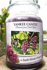 """SET OF 6 Yankee Candle """"SOUTH AFRICAN VINEYARD"""" ~ WHITE LABEL ~ Large 22 oz.~NEW"""