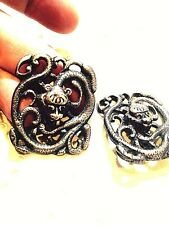 Vintage Antique 925 Sterling Silver Snake Button Clip On Earrings