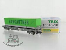 "LG211 ESCALA N Minitrix 15645-18 HUPAC V Sdgkkmss Taschenwagen ""HANGARTNER"" c107"