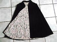 Vintage Velvet WOMEN'S Cape Cloak 1960s 1970s Size 8 10 Small S BLACK