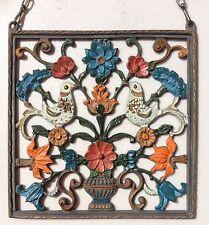 Vintage KUHN ZINN Painted PEWTER WALL HANGER ORNAMENT - GERMANY - BIRDS FLOWERS