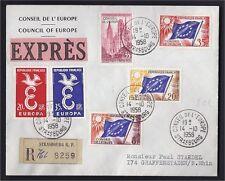 14.10.1958 EXPRES RECOMMANDE STRASBOURG FDC CONSEIL EUROPE ROUEN EUROPA 1958