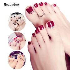 9 design 3D red silver Shimmer  Diamond Black Short Fake False Toe Nails Glue